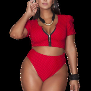 XL-4XL Plus Size Bikini Set Pad Zipper Front Swimsuit Large Swimwear 2019 High Waist Monokini Female Short Sleeve Bathing Suit