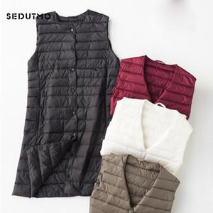 SEDUTMO Spring Plus Size 4XL Womens Down Jackets Vest Long Ultra Light Waistcoat Winter Puffer Jacket Slim Parkas ED757 C1204