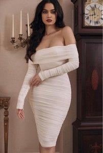 New Spring Wrap Dresses White Mesh Wedding Party Dress Elegant Off Shoulder Long Sleeve Ruched Midi Dress