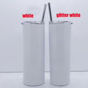 double wall stainless steel straw cup 20oz 600ml blank sublimation straight tumbler glitter vacuum insulated travel mug DIY best gift