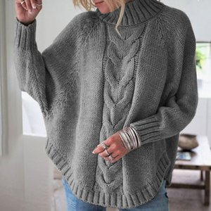 winter clothes women plus size knitted sweaters turtleneck pullovers computer knitted casual batwing sleeve christmas sweater