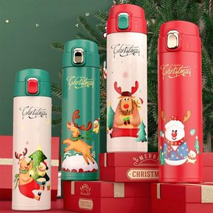 Cheapest 16oz Water Bottle Gift Christmas Cartoon Santa Claus Elk Insulate Thermos Promotional Xmas Vacuum Flasks DHD2253