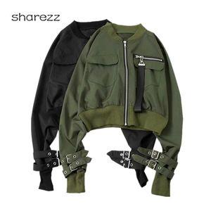 Casual Exército Verde Zip Up Flap Bomber Jaqueta Mulheres Moda Zipper Biker Jaqueta Básico Casaco Feminino Exército Verde Verde Outerwear