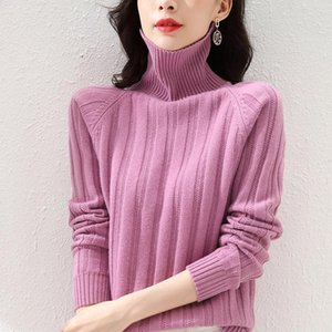 Hot new product wool sweater women high neck knit pullover solid color loose comfortable cashmere sweater ATTYYWS brand genuine