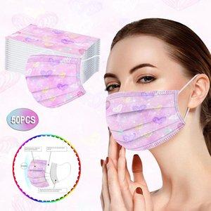 Frete Grátis Descartável Adulto Máscara Criança Laço-Tintura Three-Layer Meltblown Non-tecido Tecido Improof Respirável Estudante Máscara de Cor DHD3717