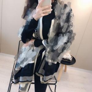 Роскошные дизайнерские бренды зимний двухсторонний шарф женские кашемировые теплые пашмина грязные леди христианские шарфы густые мягкие шали обертываются CD