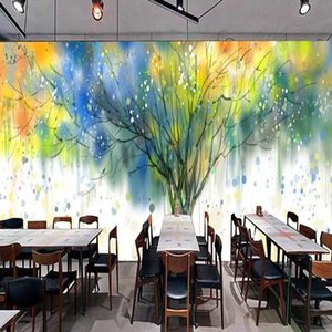 Custom Wallpaper 3D Colorful Hand-painted Abstract Tree Murals Restaurant Cafe Bar Art Wall Papers For Walls 3 D Papel De Parede