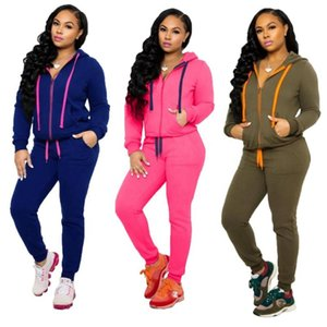 drop shipping 2020 Winter outfits women two pieces sets with pocket sport wear long sleeve hoodies pants women
