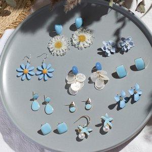 2021 Coreano azul flores geométrica colgante caída múltiple moda resina floral rafia acrílico pendientes