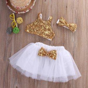 Été princesse enfant bébé filles vêtements fête mariage anniversaire costumes costumes paillettes gilet tops + bow tutu jupes robe jlljnl