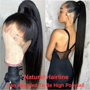 Peluca de encaje de 180 de densidad 13x6 Peluca delantera de encaje de cordón recto Pelucas de cabello humano del frente para el negro Women 360 Cordillos frontal peluca remy pelucas
