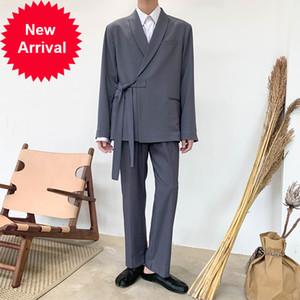 Japan 2PCS Men Suits Sets Casual Lace Kimono Suit Jacket Pant Male Streetwear Trouser Fashion Show Blazer Coat Outerwear B75