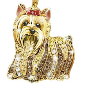 Crystal Animal Lion Dog Pendant Necklaces For Women Men Hiphop Rock Alloy Lovely Chain Necklace Jewelry Accessories