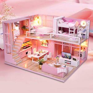 Новый DIY кукольный дом имитация розовые серии спальня игрушки ручной работы деревянные игрушки детские игрушки мальчики и девочки День святого Валентина подарки LJ201126