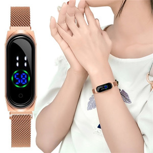 Watches for Women Touch Screen LED Watch Ladies Magnetic Mesh Belt Electronic Digital Student Wristwatch for Girl 201217