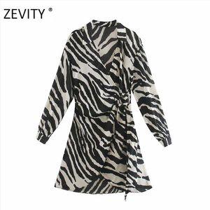 ZEVITY women vintage animal texture print sashes mini dress female batwing sleeve kimono vestido chic casual slim dresses DS4266 A1111