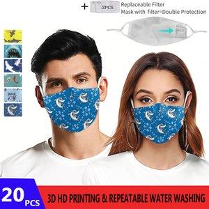 Impression Face HD Mix Shark Pattem Choice 3D Masque Adultes Masque de protection réutilisable PM2.5 Masques de visage lavables 5la