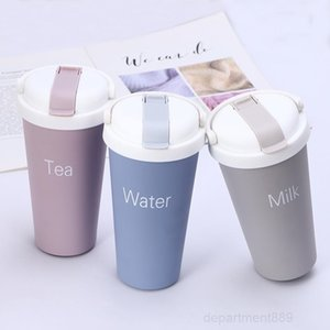 500ml Stainless Steel Milk Tea Coffee Water Cup with Straw Office Travel Car Mug Kids Thermos Bottle Ocean Shipping DHA536