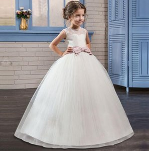 Evening Girl Dress Long Costume Princess Children Kids Bridesmaid Ball Gown Girls Lace Dress Wedding and Party Dresses For 4-14T Z1127