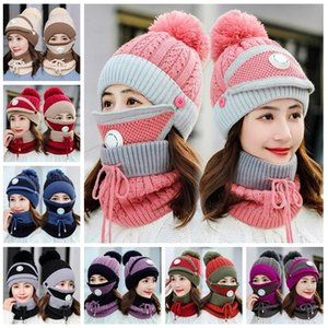 Knitted Hats Masks Scarf Set 3pcs set Beanies With Valve Mask Scarf Winter Wool Pompom Casual Hat Sets Cycling Caps CCA12645
