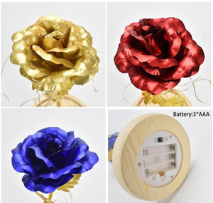 Rose With Led Light Rose In Glass Dome Beauty Forever Gold Plated Flowers For Vale bbykFh sweet07