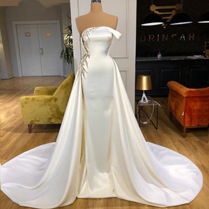 Elegant Satin Long Mermaid Evening Dresses 2021 Luxury Beading Sequined Women Formal Party Gowns vestido de novia