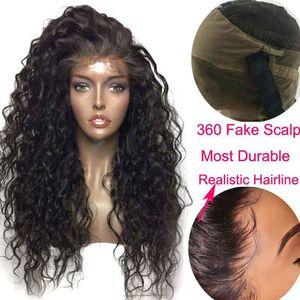 HD кружевной парик сбросившаяся водяная волна парик избеленные узлы черные поддельные кожельпы реми Remy 360 кружевной фронтальный прозрачный парик