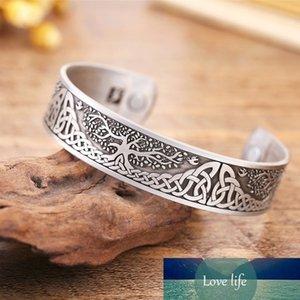 Viking Life Tree Polsino inciso Braccialetto magnetico Braccialetto aperto per gioielli da uomo