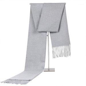 Mingjiebihuo Nueva moda otoño e invierno grueso cálido color sólido hombres bufanda múltiples colores tassel bufanda