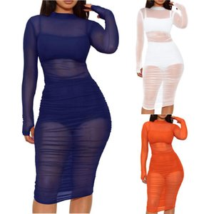 Round Neck Long Sleeve Women dress Mesh Dress + Tank Top + Shorts Three-piece Woman Dresses Vestidos Robes shirt 1121