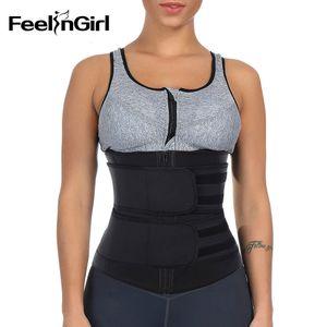 Feelingirl Woman 100%latex 7 Steel Boned Double Belt with Zipper Enhancer Firm Control Body Shaper Waist Trainer Slimming Girdle