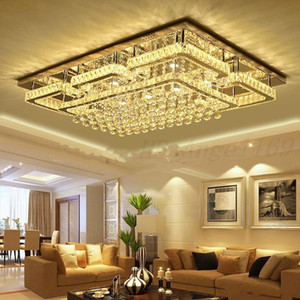 Newest Pendant Lamp Chandelier Modern Luxury Square Lustre K9 Crystal Led Chandelier Remote Control Dimmable Luminaria Living Room Lamparas