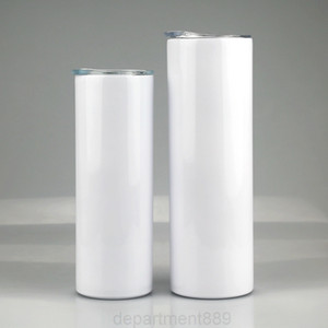Sublimation Straight Tumbler 20oz 30oz Stainless steel blank white Skinny cup with lid straw Cylinder water bottle coffee