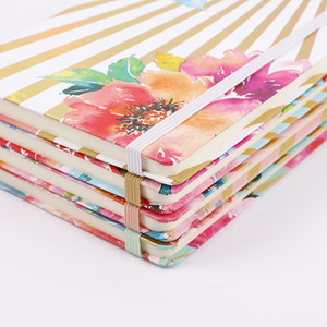 A5 Notebook Agenda Planner Organizer Journals Diaries Book Floral Printed Hardcover Notepad with Elastic Closure Banded DDA2872