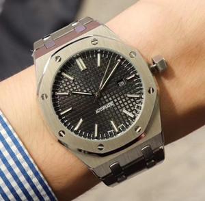 Nuevo reloj para hombre Movimiento mecánico automático de vidrio de zafiro dial negro trasero transparente de acero inoxidable relojes para hombre