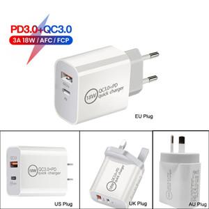 Dual Port Quick Charger Type C USB QC3.0 PD18 W للهواتف المحمولة 12 Pro MAX MINI FAST شحن محول PD شواحن جدار
