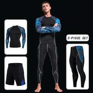Men Compression 3 Pcs Yoga Set Fitness Sports Suits Gym Long Sleeve Top Clothing Shirts Running Leggings Workout Pants