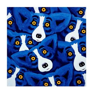 Rodrigue BLUE DOG EVERYWHERE Hand-painted Abstract Animal Oil Painting On High Quality Canvas Modern Home Decor Wall Art a121SB875