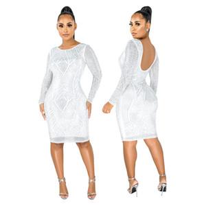 Женские платья Sparkly Rhinestones Сращенные сексуальные карандаш платье совок шеи полное рукавное вечеринку клубное платье винтаж Bodycon длина колена