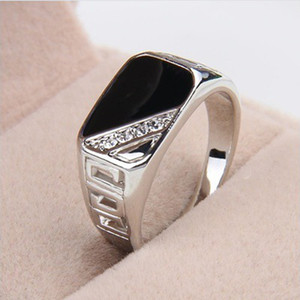 Rhinestone Wedding Ring Fashion Men Jewelry Classic Gold Color Black Enamel Rings for Men Christmas Party Gift Cocktail Ring