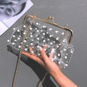ISHOWTIENDA Pearls Bags Sweet Hasp Ladies Fashion Solid Color Handbag Jelly Chains Transparent Diagonal Bags bolsa feminina1