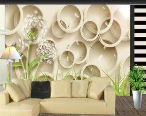 Romantische Flora 3D Wandbild Tapete Wohnzimmer 3D Löwenzahn TV Hintergrund Wand Digitaldruck HD Dekorative schöne Tapete