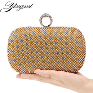 YINGMI Rhinestones women clutch diamonds finger ring ladies evening crystal wedding bridal handbags purse bags holder Q1129