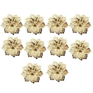 HOT-10Pcs Flower Design Napkin Rings Metal Gold Napkin Buckle Ring Holder Hotel Restaurant Wedding Party West Dinner Tabl