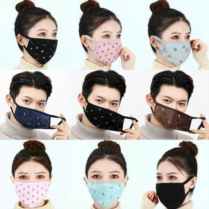DHL против пыли хлопчатобумажная ткань лицевые маски печатанные маски унисекс человек женщина велосипед в зимней моде пустой белая черная маска