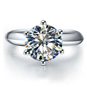 QYI Silver 925 Кольца Женщины Обручальные Серебряные Кольца Круглый Имитационный Алмаз Очень Блестящий Свадебный Подарочный Кольцо Камень размером 1 / 1,5 / 2/3 CT Y1124