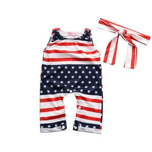 Summer Rayed Sumpsuits American Flag Independence National Day USA 4th July Sin mangas Star Baby Mamper Contiene Diademas