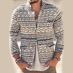 Cappotto da uomo Cappotto corto Casual Caldo Slim Slim Stampa Collo Stampa Cappotto a maglia Cardigan Vintage Giacca maschile