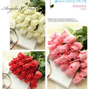 Free Shipping(11pcs Lot) Fresh Rose Artificial Flowers Real Touch Rose Flowers Home Decorations For Wedding Party Birthday Gifts Q1123