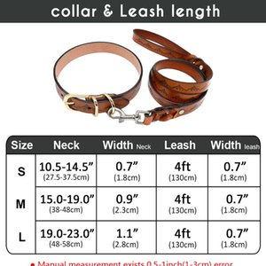 Genuine Leather Dog Collar And Leash Set Durable Pet Walking Training Collar Leash For Medium Large Dogs German bbyqFa